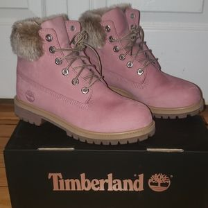 Timberland Shoes | Pink Tims With Fur